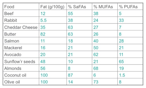 Fats in foods table
