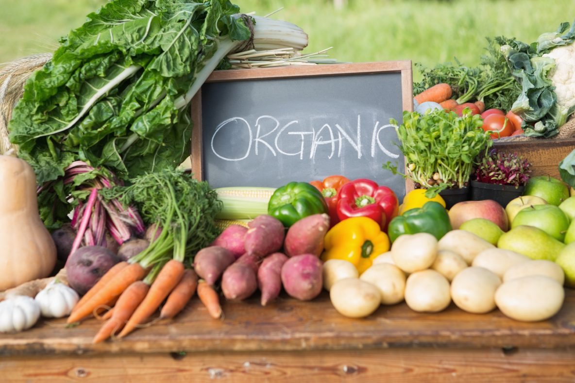 Organic foods laid out