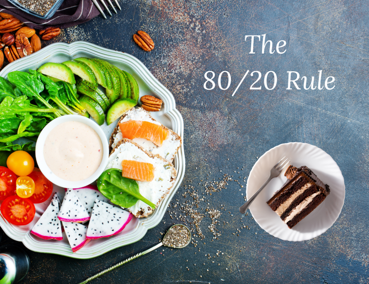 The 80 20 rule with healthy foods and a piece of cake
