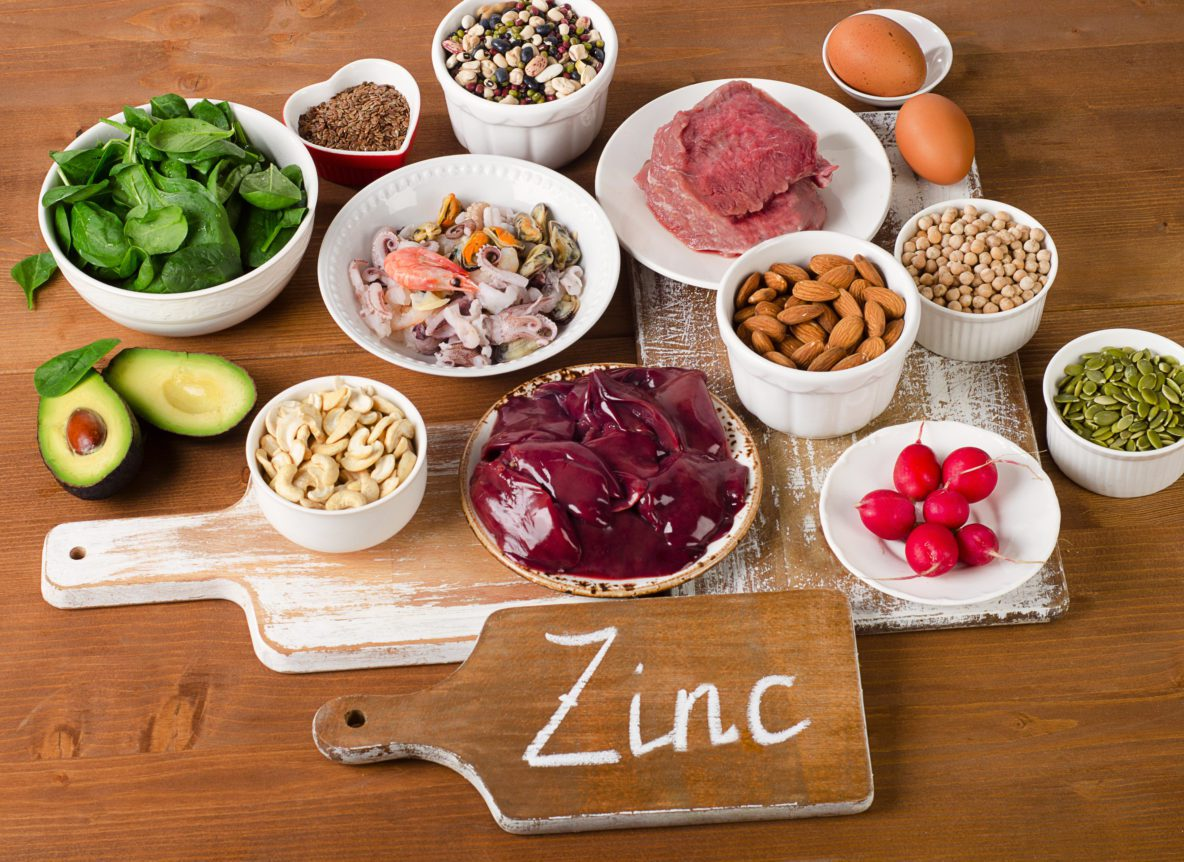 foods on a table that provide zinc